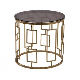 Zinc Contemporary End Table In Shiny Gold With Smoked Glass Top