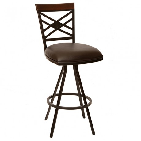 "Zoe 30"" Transitional Armless Barstool In Coffee and Auburn Bay Metal"