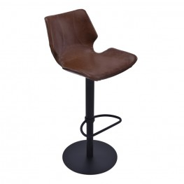 Zuma Adjustable Swivel Metal Barstool in Vintage Coffee Pu and Black Metal Finish