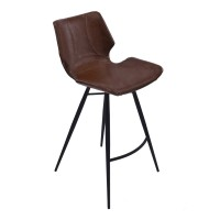 """Armen Living Zurich 26"""" Counter Height Metal Barstool in Vintage Coffee Pu and Black Metal Finish"""