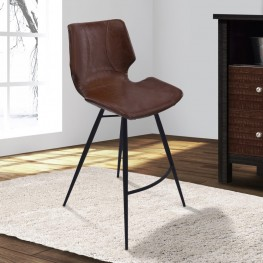 "Armen Living Zurich 30"" Bar Height Metal Barstool in Vintage Coffee Pu and Black Metal Finish"