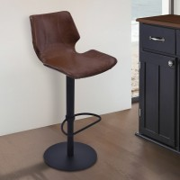Armen Living Zuma Adjustable Swivel Metal Barstool in Vintage Coffee Pu and Black Metal Finish