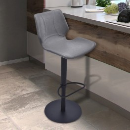 Armen Living Zuma Adjustable Swivel Metal Barstool in Vintage Gray Pu and Black Metal Finish