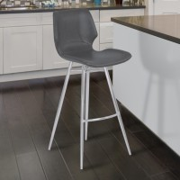 "Armen Living Zurich 26"" Counter Height Metal Barstool in Vintage Gray Faux Leather with Brushed Stainless Steel Finish"