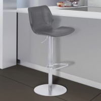 Armen Living Zuma Adjustable Metal Barstool in Vintage Gray Faux Leather with Brushed Stainless Steel Finish