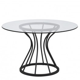 "Armen Living Zurich Round Dining Table in Black Finish and 48"" Glass Top"