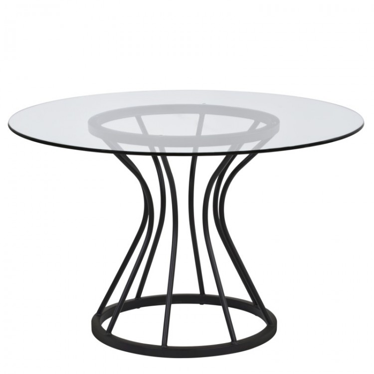 Zurich Round Dining Table In Black Finish And 48 Gl Top