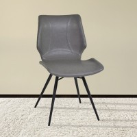 Armen Living Zurich Dining Chair in Vintage Gray Pu and Black Metal Finish (Set of 2)