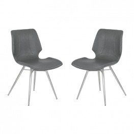 Armen Living Zurich Contemporary Dining Chair in Vintage Gray Faux Leather with Brushed Stainless Steel Finish - Set of 2