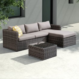 Hagen 3 piece Outdoor Rattan Sectional Chase Set with Dark Brown Cushions and Modern Accent Pillows