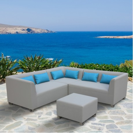 Armen Living Lagoon 4 piece Outdoor Textilene Sectional Set in Taupe with Sky Blue Accent Pillows