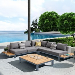 Polo 4 piece Outdoor Sectional Set with Dark Gray Cushions and Modern Accent Pillows