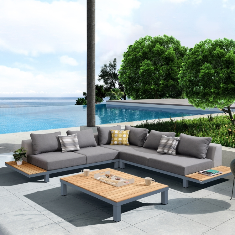 Armen Living Polo 4 Piece Outdoor Sectional Set With Dark