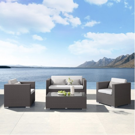 Armen Living Toronto 4 piece Outdoor Brown Rattan Set with White Cushions and Taupe Accent Pillows