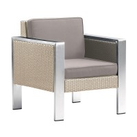 Armen Living Watercube 4 piece Outdoor White Rattan Set with Taupe Cushions and Accent Pillows